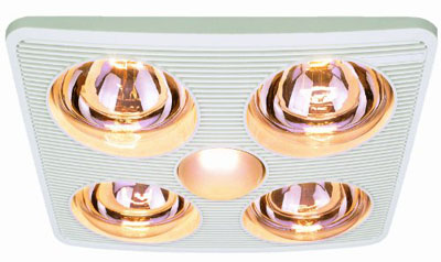 Aero Pure A716B W 4-Bulb Quiet Bathroom Heater Fan With Light