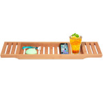 Bamboo Bathtub Caddy Holds Your Important Things While Enjoying A Relaxing Bath