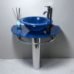 Bathroom Vanities Pedestal Glass Blue Sink Combo W Faucet By Home Compound