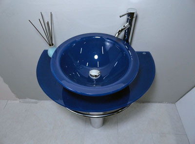 Bathroom Vanities Pedestal Glass Blue Sink Combo W Faucet