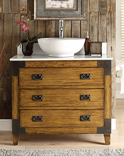 Benton Collection Asian-inspired Akira Vessel Sink Bathroom Vanity