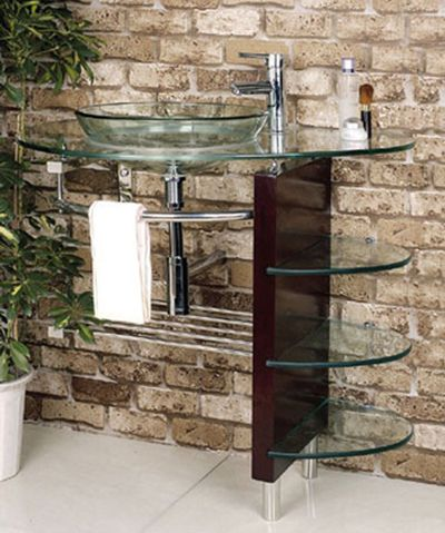 Contemporary Glass Vanity Combo SET With Shelves