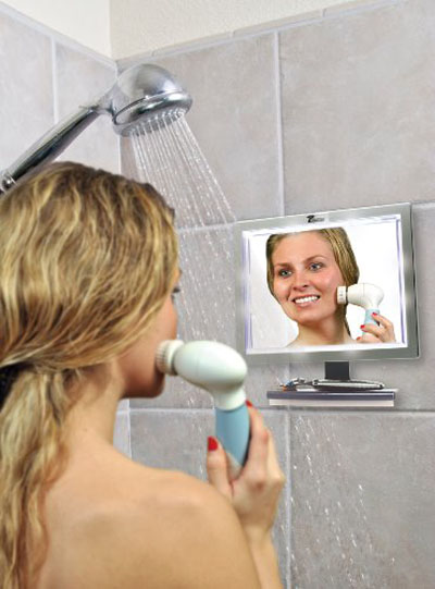 Deluxe LED Fogless Shower Mirror With Squegee