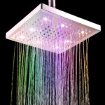 Docooler 8-inch Square 7 Colors Changing LED Shower Head - No Wires or Batteries Required