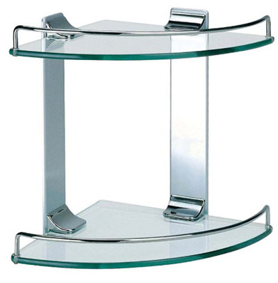 Dowell Double Corner Glass Shelf