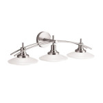Elegant Kichler Lighting 6463NI Structures Wall-Mount 3-Halogen Bath Light With Glass Shades