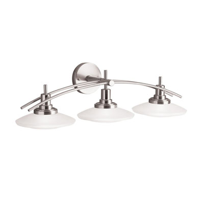 Kichler Lighting 6463NI Structures Wall-Mount 3-Light Halogen Bath Light With Glass Shades