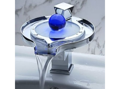 LightInTheBox Single Handle Special Frisbee Design Waterfall Bathroom Vanity Sink LED Faucet