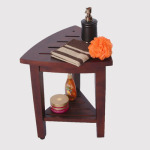 Shower With Comfort Using The New Oasis Fully Assembled Teak Corner Shower Bench