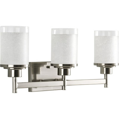 P2978-09 3-Light Wall Bracket with White Linen Finished Glass and Clear Edge Accent Strip