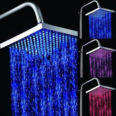 Cool Temperature Sensitive 8-inch Rainfall LED Shower Head