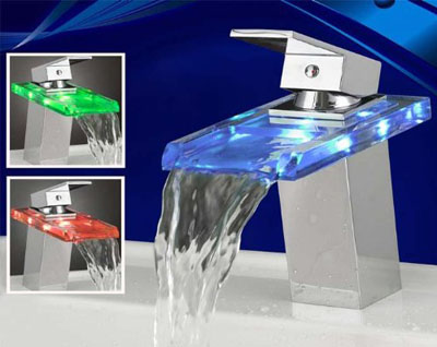 Temperature Sensitive LED Lavatory Faucet - Single Handle Centerset