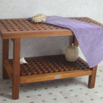 AquaTeak Original 30-inch Grate Teak Shower Bench Is Made Out Of Solid Teak Wood