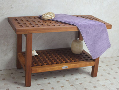 AquaTeak Original 30-inch Grate Teak Shower Bench