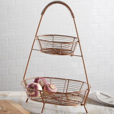 Two-Tiered Copper Countertop Basket
