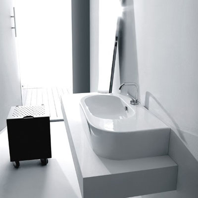 WS Bath Collections Flo 3143 Wall Hung or Counter Top Ceramic Sink